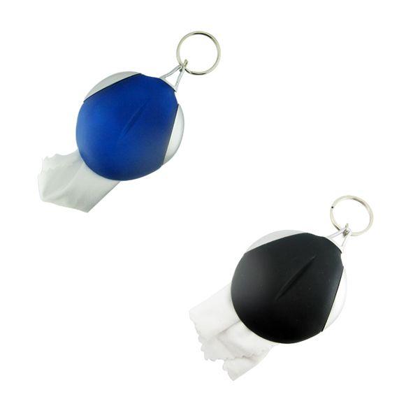COD.LV047 Llavero de goma incluyendo una gamuza para limpiar las gafas.