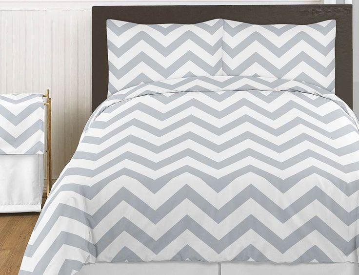teen bedding chevron | Chevron Gray and White 3pc Teen or Kids King Bedding Set