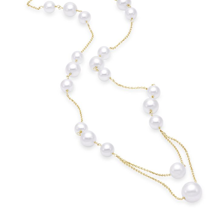 Yellow gold necklace with multiple pearl sizes