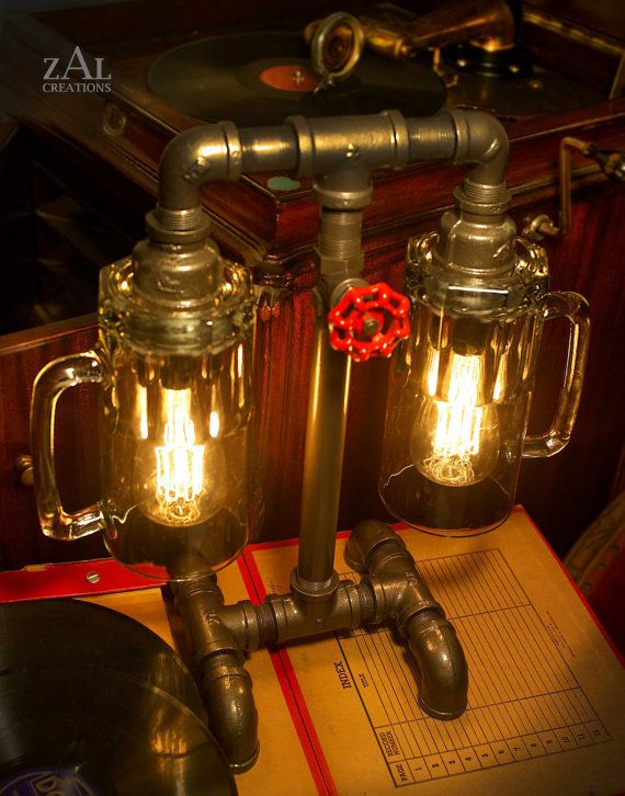 Table Lamp. Beer mugs, Plumbing pipe & fittings. With vintage style Edison bulbs