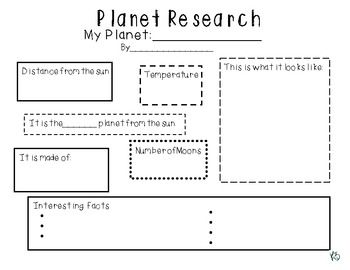 Planet Research Graphic Organizer