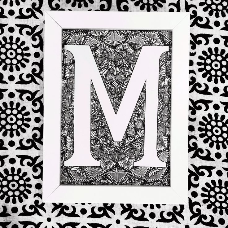 'M' || Original drawing || Perfect gift for a modern home || Unique one off drawing || #homeware #homedesign #homedecor #letters #gifts #littleframes #frames #whiteframes #initials #names #personal #personalised #style #homeaccessories