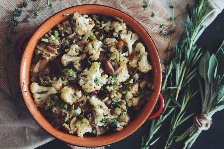 #vegan roasted cauliflower & chestnut stuffing | RECIPE on hotforfoodblog.com
