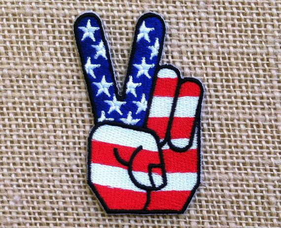 "USA Patch American Flag Peace Sign Fingers Patches for Jackets 3"" x 1.75"" Punk Rock Band Retro Hippie Grunge Patches Iron On Applique"