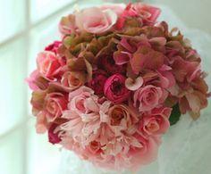 ブーケ クラッチ 秋のピンク マダムトキ様のブーケ : 一会 ウエディングの花