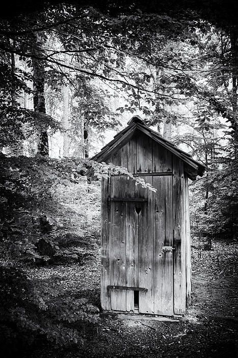 Outhouse - old toilet made of wood  surrounded by trees in the forest - black and white Photograph. Click on the link or the image to buy a poster, fine art print or canvas print: http://matthias-hauser.artistwebsites.com/featured/outhouse-in-the-forest-black-and-white-matthias-hauser.html 30 days money back guarantee. (c) Matthias Hauser hauserfoto.com