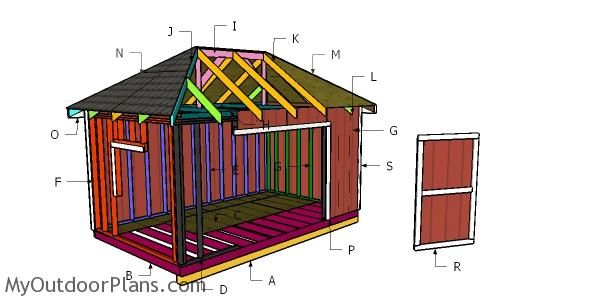 10x16 Shed With Hip Roof Plan Myoutdoorplans Free Woodworking Plans And Projects Diy Shed Wooden Playhouse Pergol In 2020 Diy Shed Roof Plan Shed Building Plans