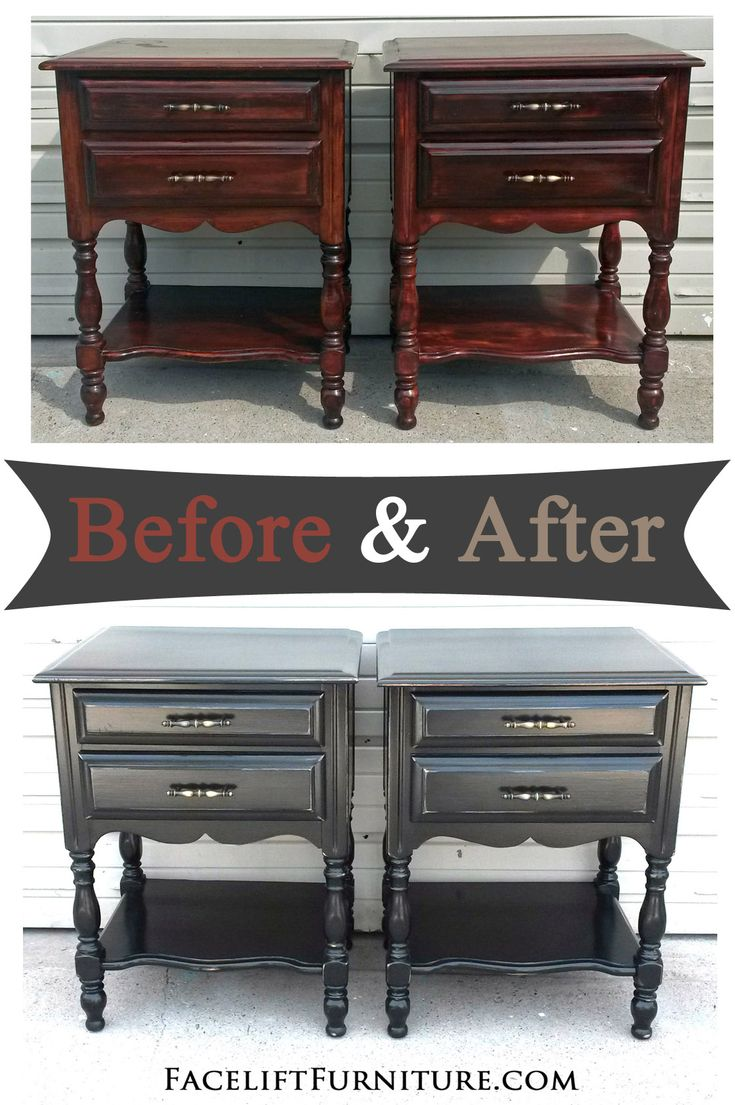 Exceptional Distressed Black Nightstands   Before U0026 After
