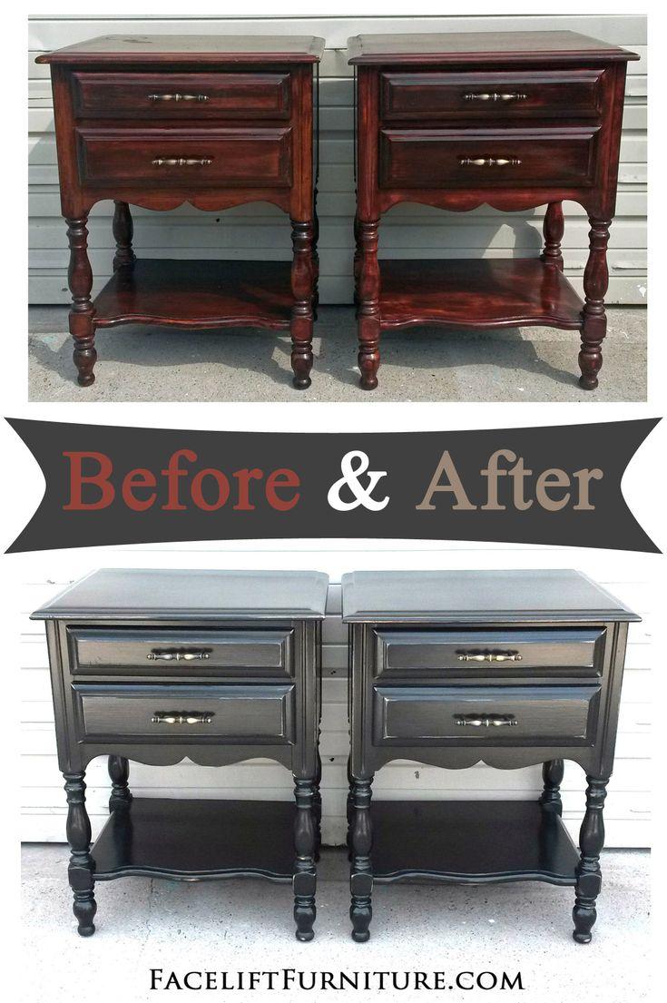 Distressed Black Bedroom Furniture - Distressed black nightstands before after