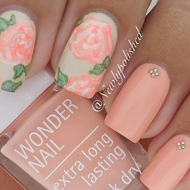 Pastel pin, floral nail art with gems. Perfect for Spring or Summer.
