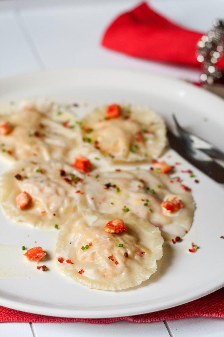 Ravioli met krab in wittewijnsaus - Hap en Tap