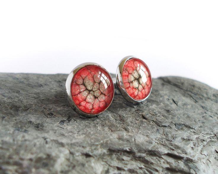 Red black stud earrings handpainted studs minimalistic by BakGuri
