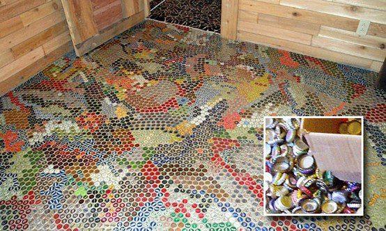 podłoga z kapsli