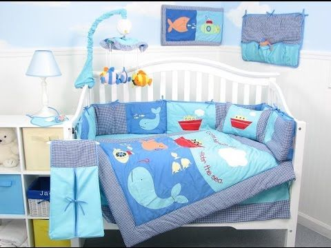 Bedroom, Baby Boy Bedding Sets For Crib Set With A Cool Blue Aquatic Theme  Retro Modern Bedroom Design: Neutral Color Baby Bedding For Boys  Inspirations