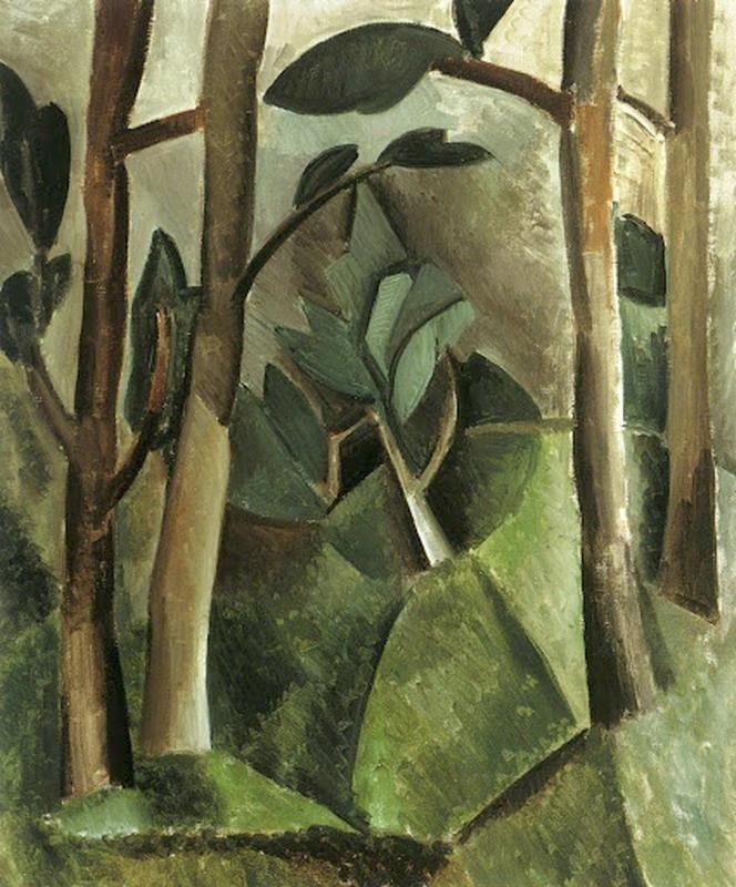 """Picasso , Cubist Landscape """"woods"""" 1908"""