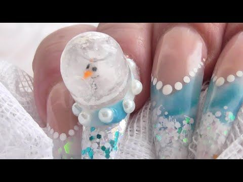 FROSTY SNOWMAN SNOW GLOBE ACRYLIC NAILS - Collab with Sophie's Bespoke Nails | ABSOLUTE NAILS - YouTube