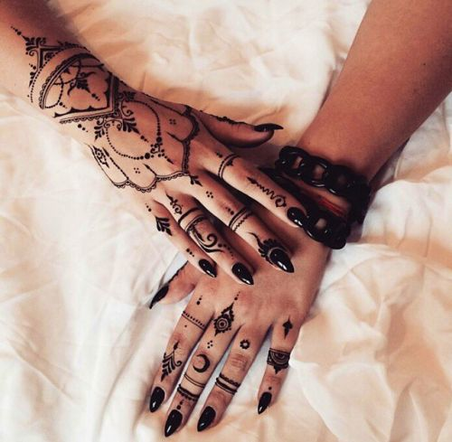 b091a85c8 girl, hands, nails, pretty, rings, tattoo, tumblr, black henna ... | ink | Hand  henna, Goth tattoo, Henna