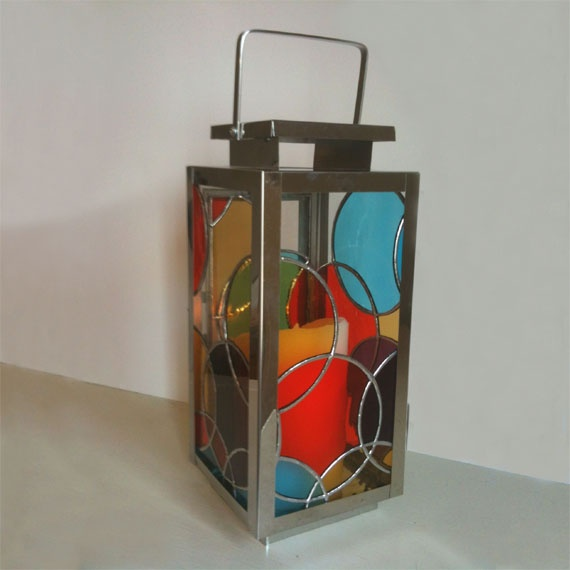 'Circles' Stained glass lantern. - by Smash Glassworks  [SOLD]