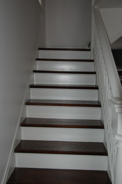 Dark stained stair treads white risers stair project for Painted stair treads