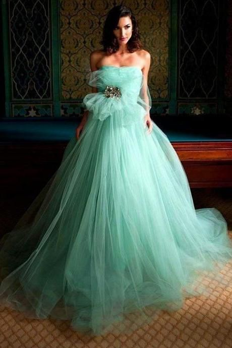 Mint Green Tulle Prom Dress