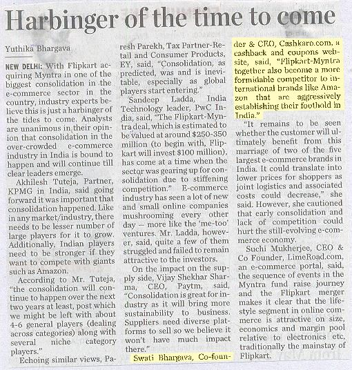 Swati Bhargava, CEO of Cashkaro.com Talks about the harbinger of the time to come.