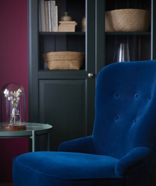 Plush And Soft Materials Like This Dark Blue Velvet Remsta Chair