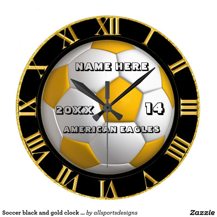 Soccer black and gold clock with Player Name  Personalized Soccer clock with Name of player`s,Name of team,Number of jersey and the Year on it. Black and gold roman numeral number clock.Background color can be change to team color. This time piece is great for a gift.Delete any or all text. IMPORTANT Personalize each soccer timekeeping device,ONE at a Time, ADD that clock to CART
