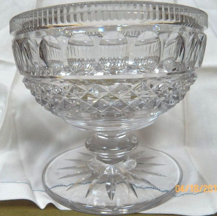 Heavy Antique Brilliant Cut Glass Lead Crystal Compote Bowl Estate Crystal Unknown Antique