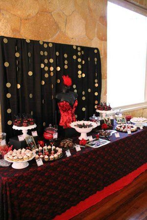 Another view of dessert table from burlesque themed birthday party
