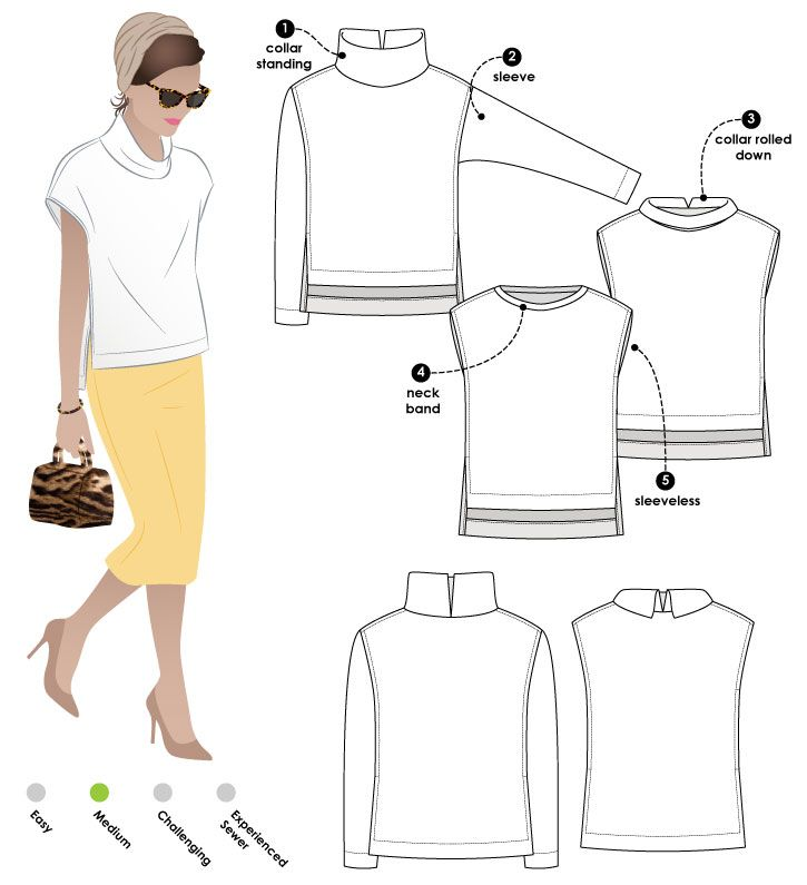 Square cut top with funnel or bind neck options, sleeved or sleeveless, with a high/low hemline and side splits -- cute pattern!