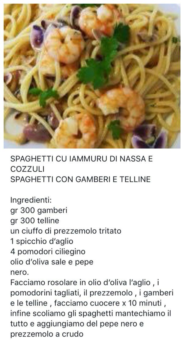 Spaghetti con gamberi e telline