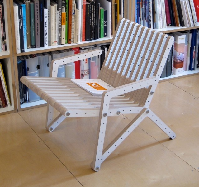 Redo-me can also be configured as an armchair. Furniture system. Brich plywood.