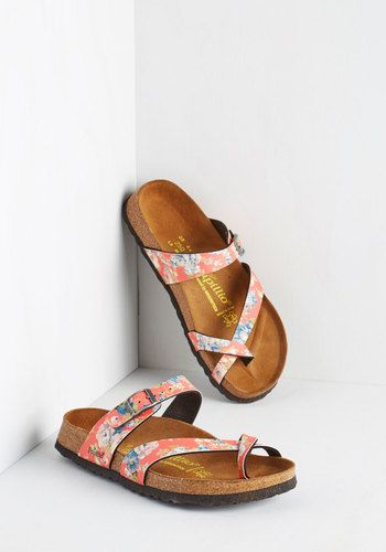 Step out back in these floral sandals and begin to visualize the future of your yard! A bright coral, Papillio by Birkenstock pair, these buckled shoes boast a molded cork footbed with pronounced arch support and leather lining, a deep heel cup, and a roomy toe box - plus, an abundance of inspiration.