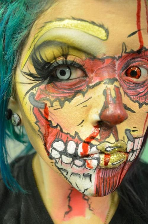zombie make-up - different colour contact lenses make a great impact x