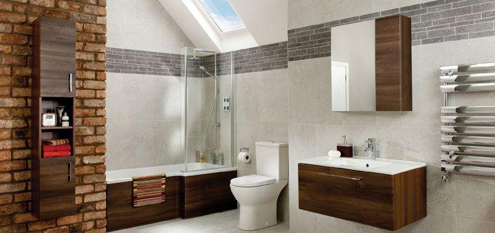 Hillock glazed porcelain bathroom tiles grey cream and for Mocha bathroom ideas