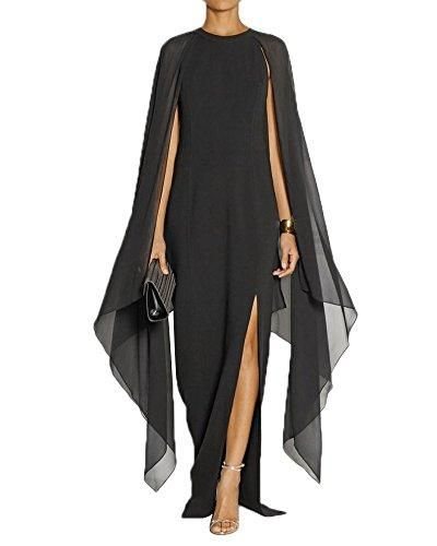 Women's Flare Chiffon Sleeve High Split Formal Evening Gown Maxi Dress With Cape
