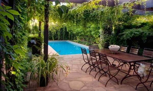 Small pool & lots of greensGardens Ideas, Gardens Architecture, Small Pools, Small Swimming Pools, Layout Design, Pool Designs, Small Gardens, Backyards Furniture, Pools Design