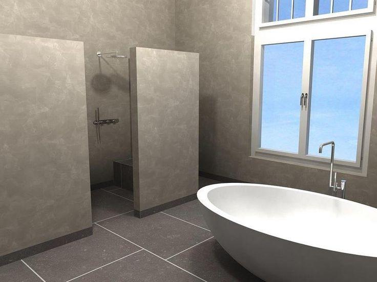 Leuk idee: losse wand + zitje in douche.