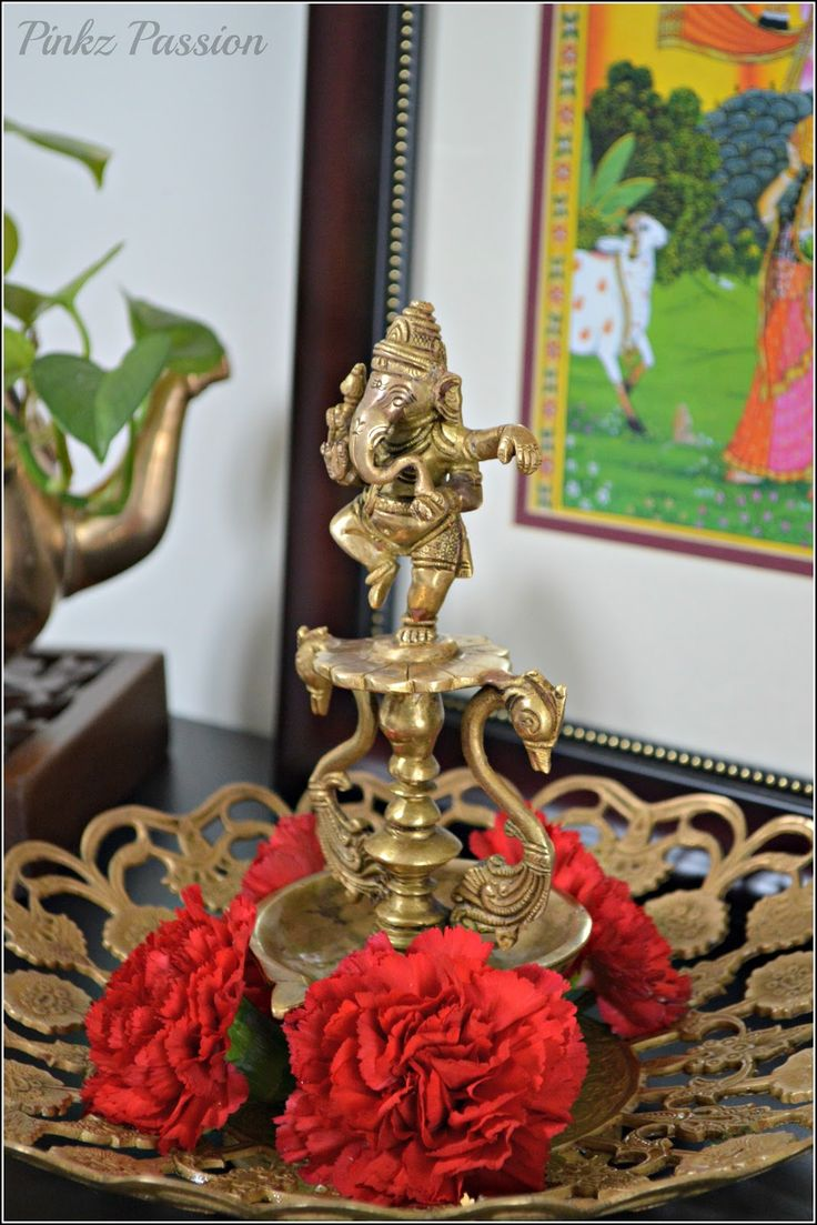 Indian home décor, Ethnic Indian Décor, Brass Vignettes, Indian Inspired Décor, Spring Blooms, Spring, Brass Collectibles, Spring Decor