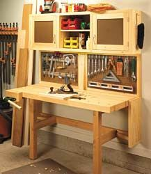 Workbench Plans 17 Free Garage Woodshop Plans: Ingenious Space Savers for Garage Workshops |