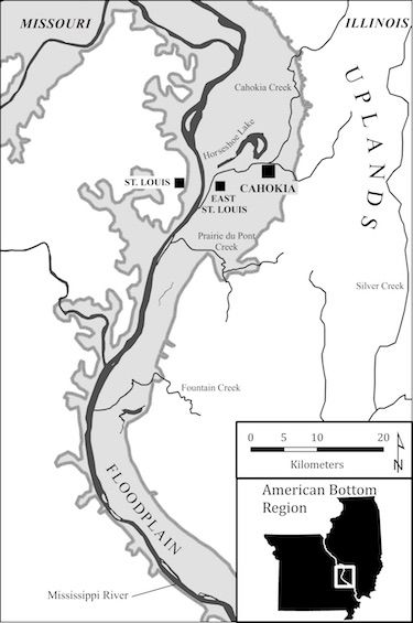 Location of Cahokia, East St Louis, and St Louis sites in the American Bottom. What motivated early 20th-century archaeologists to go along with the thought that indigenous peoples in North America could not be responsible for a place as technologically sophisticated as was Cahokia? (see comments below)