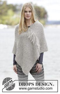 """Lorelei - Poncho DROPS au point mousse avec franges, tricoté avec 2 fils """"Brushed Alpaca Silk"""" ou 1 fil """"Melody"""". - Free pattern by DROPS Design"""