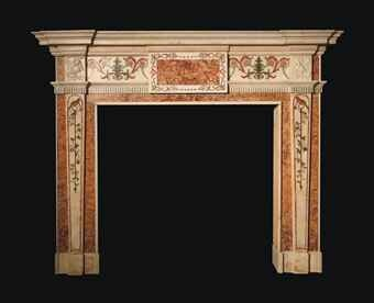 A GEORGE III WHITE STATUARY MARBLE, SPANISH BROCATELLO AND SCAGLIOLA CHIMNEY PIECE  ATTRIBUTED TO JOHAN AUGUSTUS RICHTER, CIRCA 1765-70