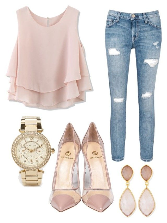 """""""Outing outfit"""" by anna-patten ❤ liked on Polyvore featuring Current/Elliott, Semilla, Chicwish, Michael Kors and Dina Mackney"""