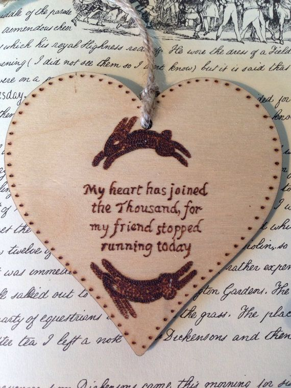 Watership Down Themed Wooden Love heart pyrography art