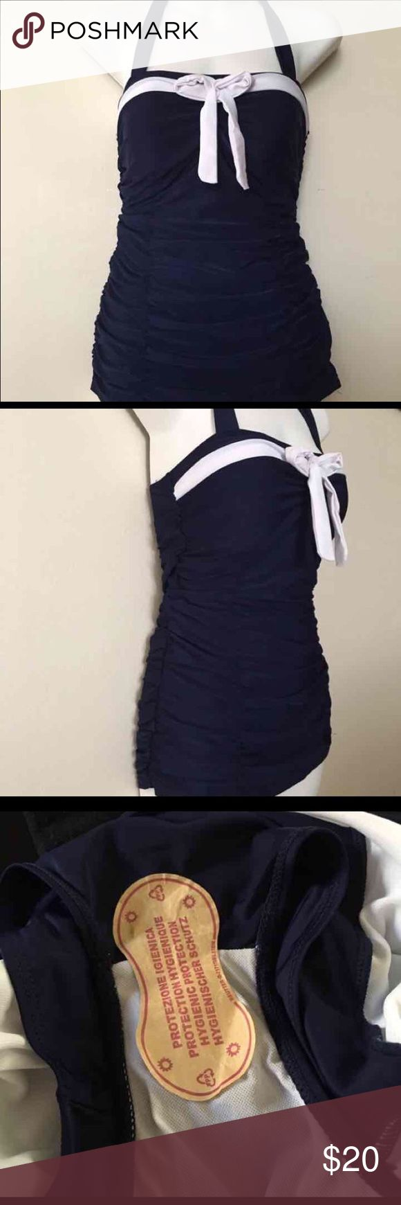NWOT vintage sailor style bathing suit Too small for me, never worn. Tag says XL but best fits small-medium. Hygienic lining still attached. Pin up, sailor, vintage style Swim One Pieces