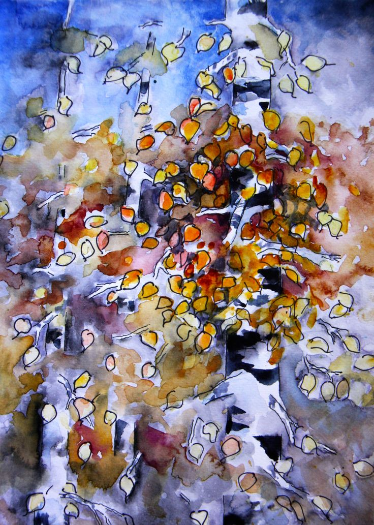 "Watercolor and Ink sketch inspired by the first golden Aspen leaves on the threes outside my kitchen window. I call it ""Aspen Trees - Late Fall"""
