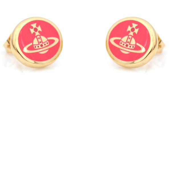 Vivienne Westwood Scarlett Earrings (110 NZD) ❤ liked on Polyvore featuring jewelry, earrings, neon jewelry, neon stud earrings, vivienne westwood, red earrings and summer earrings