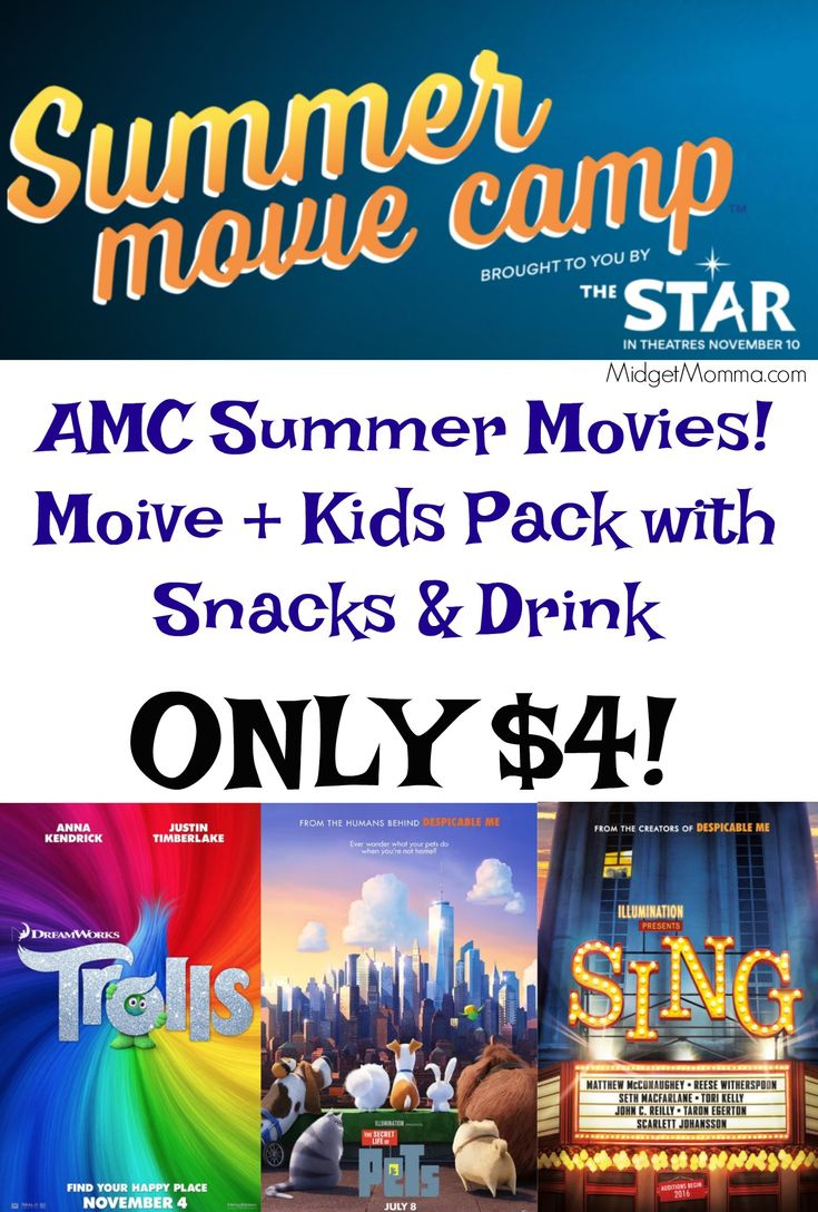 AMC Summer Movies. For ONLY $4 you will get the movie ticket and a KidsPack with snacks and a drink at AMC Movie theaters!