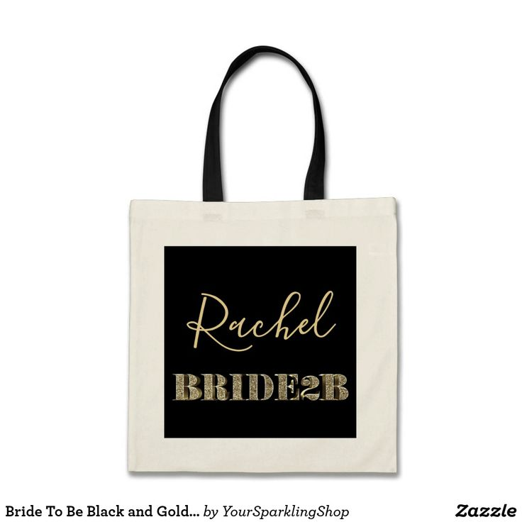 Bride To Be Black and Gold Glitter Typography Name #bridetobe #bride #bridalshower #tote #blackandgold
